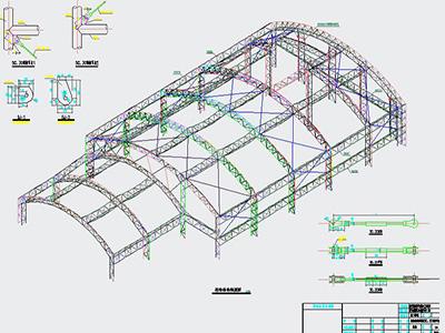桁架煤棚膜结构设计CAD图纸