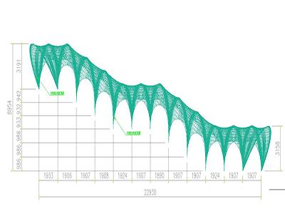 下沉式广场膜结构通道设计CAD 图纸