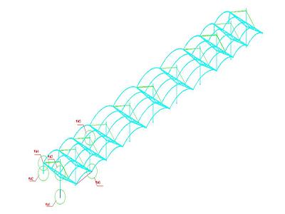 钢骨架膜结构CAD设计图纸