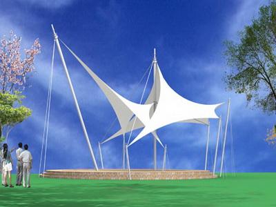 常熟市联盟村综合小游园景观膜结构工程